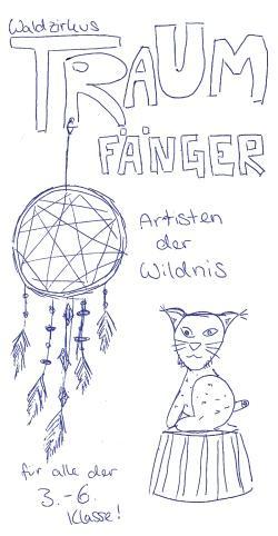 """Unter dem Motto """"Traumfänger – Artisten der Wildnis"""" entsteht rund ums Nationalparkzentrum Lusen ein Waldzirkus. (Zeichnung: Nina Felsmann/Nationalpark Bayerischer Wald)"""