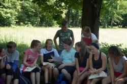 Da war Lachen garantiert: Niederbayerische und sächsische Schüler stellten die gemeinsam in ihren Dialekten verfassten Gedichte vor.  (Foto: Margitta Jendrzejewski/Nationalpark Sächsische Schweiz)