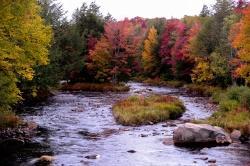 """Beeindruckendes Farbenspiel der Laubwälder beim sogenannten """"Indian Summer"""" im Adirondack State Park."""