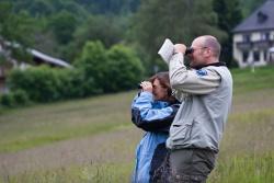 """Wer singt denn da so schön? Sachkundige Einführung in das Frühlings-Vogelkonzert ermöglicht die Nationalparkführung """"Vogelwelt im Frühlingswald"""" (Foto: NPV Bayerischer Wald)"""
