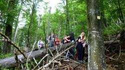 GIS-Projekt des Landgraf-Leuchtenberg-Gymnasiums Grafenau: Die 8. Klassen erstellten im Rahmen mit Hilfe von GPS-Geräten eigene Wanderkarten. Begleitet wurden sie von Nationalpark-Mitarbeiterin Karin Hartl.