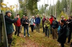 Fachdiskussion vor Ort mit vielen internationalen Experten: Teil der Tagung war auch eine Exkursion, bei der die Gäste den Nationalpark Bayerischer Wald mit seinen spezifischen Herausforderungen und Fragestellungen in Sachen Fernerkundung kennenlernen konnten. (Foto: Hochschule für angewandte Wissenschaften München)