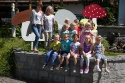 Der Kindergarten St. Oswald hat vor dem Start der Pilztage für die passende Deko vor dem Waldgeschichtlichen Museum gesorgt. (Foto:NPV)