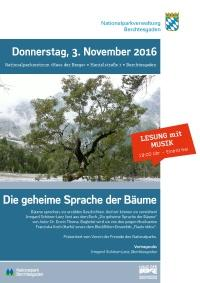 """""""Die geheime Sprache der Bäume""""  - Plakat zum Auftakt der Wintervortragsreihe am 3. November 2016"""